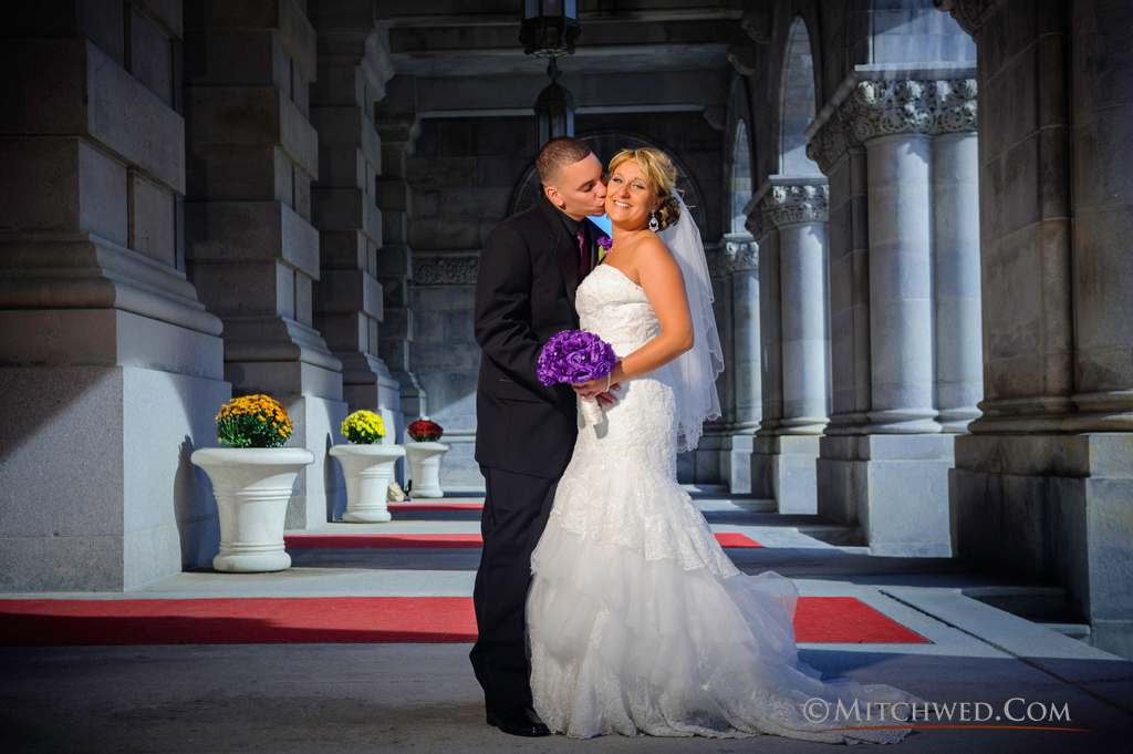 The tones of their surroundings set the couple off in a way that has an almost three dimensional look. And it's a sweet moment too.