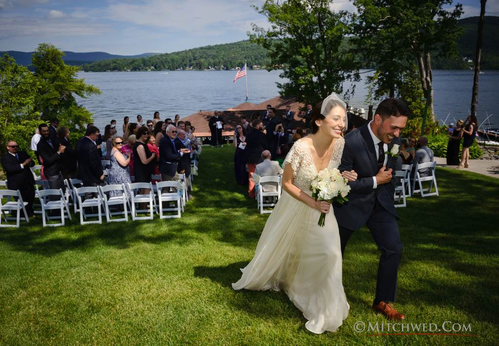 Bride and groom lake george boathouse